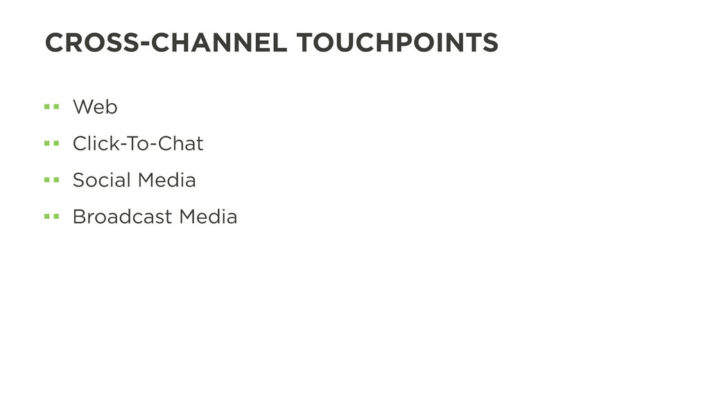 CROSS-CHANNEL TOUCHPOINTS Web Click-To-Chat Soc...