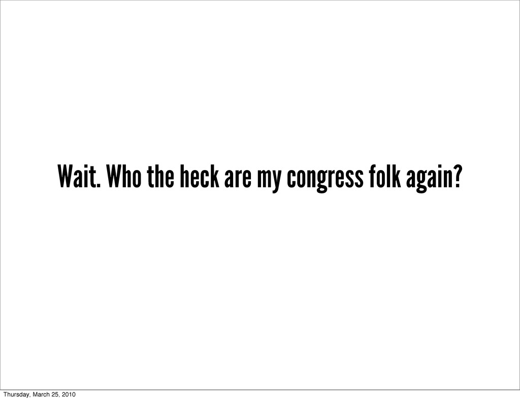 Wait. Who the heck are my congress folk again? ...