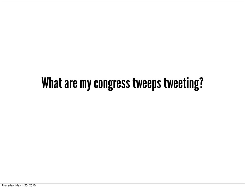 What are my congress tweeps tweeting? Thursday,...