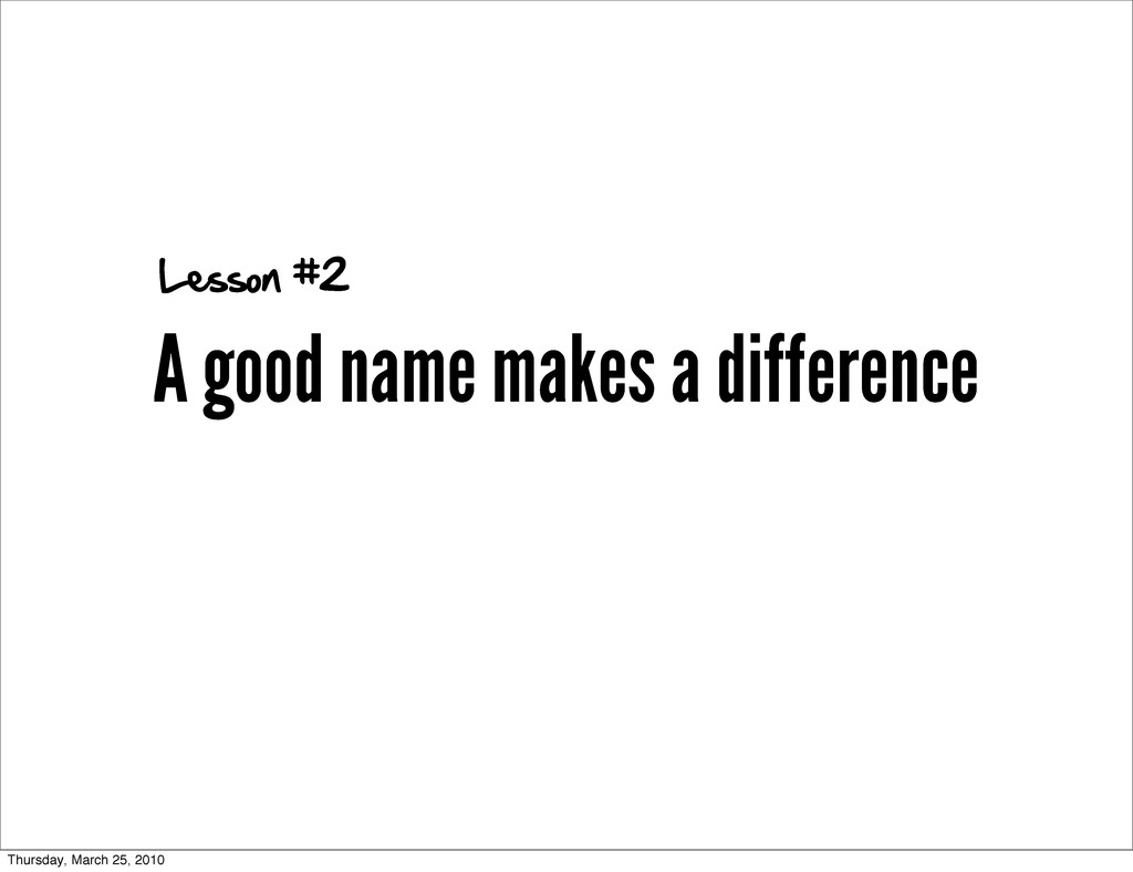 A good name makes a difference Lesson #2 Thursd...