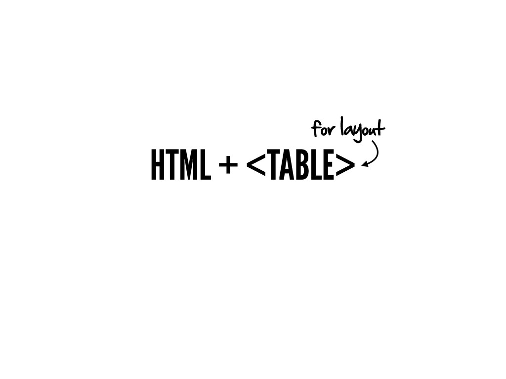 HTML + <TABLE> for layout