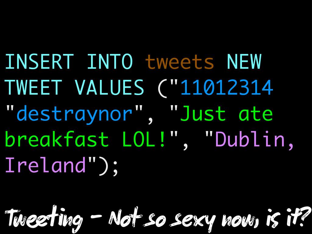 """INSERT INTO tweets NEW TWEET VALUES (""""11012314""""..."""