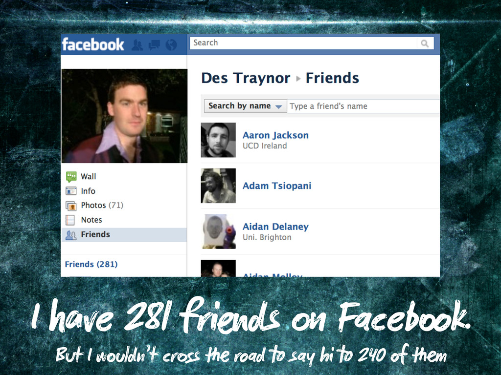 I ve 281 fri ds Faceb k. But I w ldn't cr s roa...