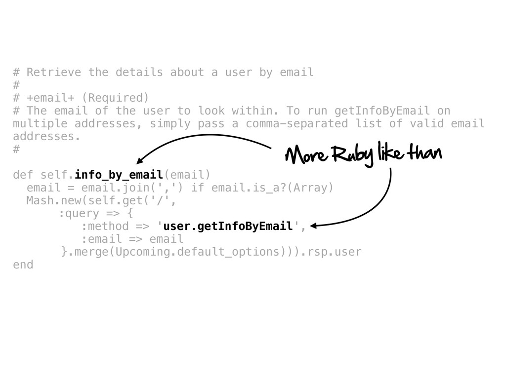 # Retrieve the details about a user by email # ...