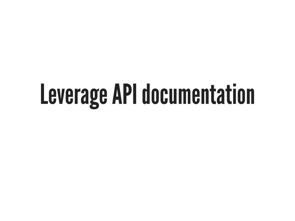 Leverage API documentation