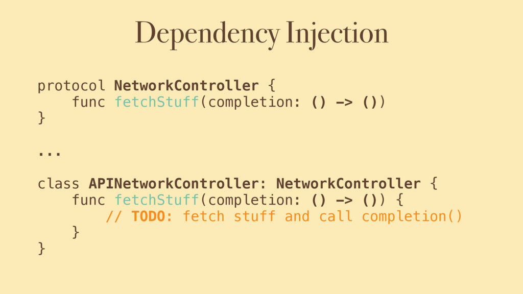 Dependency Injection protocol NetworkController...