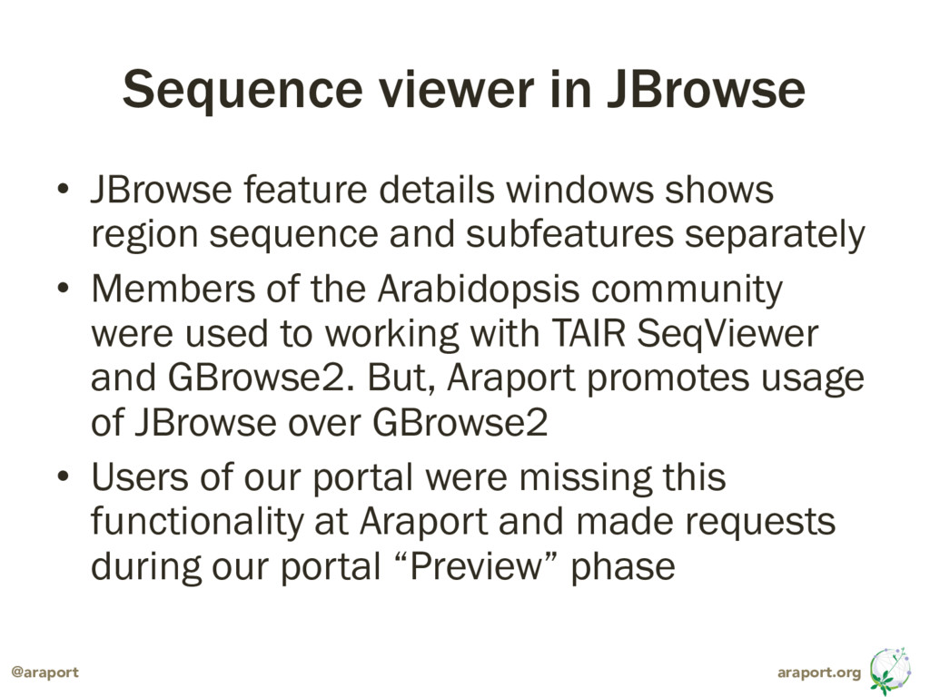 araport.org @araport Sequence viewer in JBrowse...