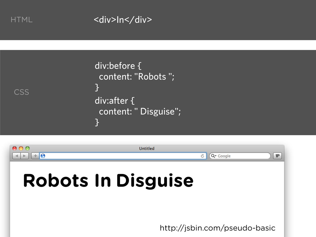 "<div>In</div> div:before { content: ""Robots ""; ..."