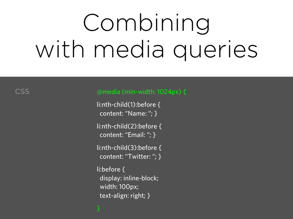 Combining with media queries CSS @media (min-wi...