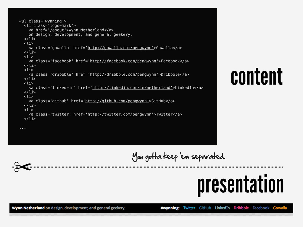 content presentation <ul class='wynning'> <li c...