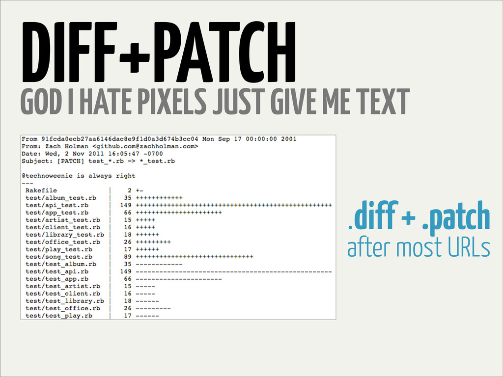 DIFF+PATCH GOD I HATE PIXELS JUST GIVE ME TEXT ...