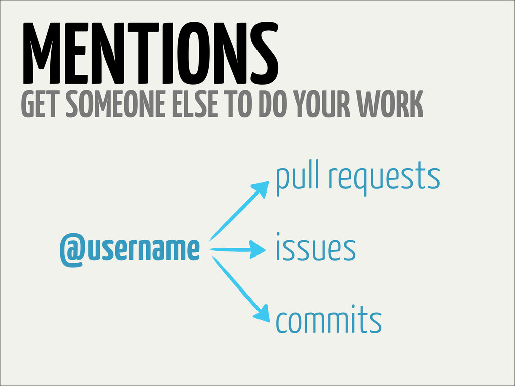 MENTIONS GET SOMEONE ELSE TO DO YOUR WORK @user...