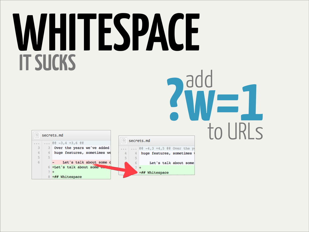 WHITESPACE IT SUCKS add ?w=1 to URLs