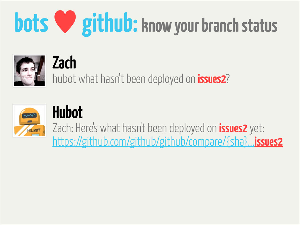 bots — github: know your branch status hubot wh...