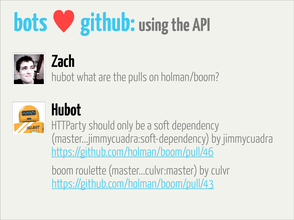 bots — github: using the API hubot what are the...