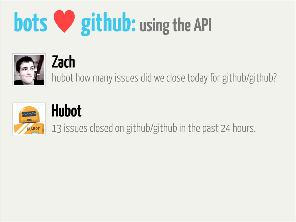 bots — github: using the API hubot how many iss...