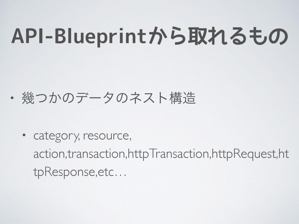API-Blueprintから取れるもの • ز͔ͭͷσʔλͷωετߏ • category...