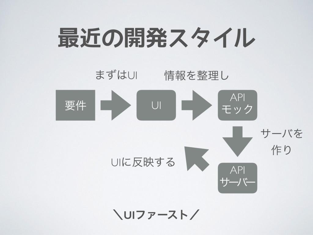 最近の開発スタイル ʘUIϑΝʔετʗ ཁ݅ UI API ϞοΫ API αʔ ό ʔ ·ͣ...