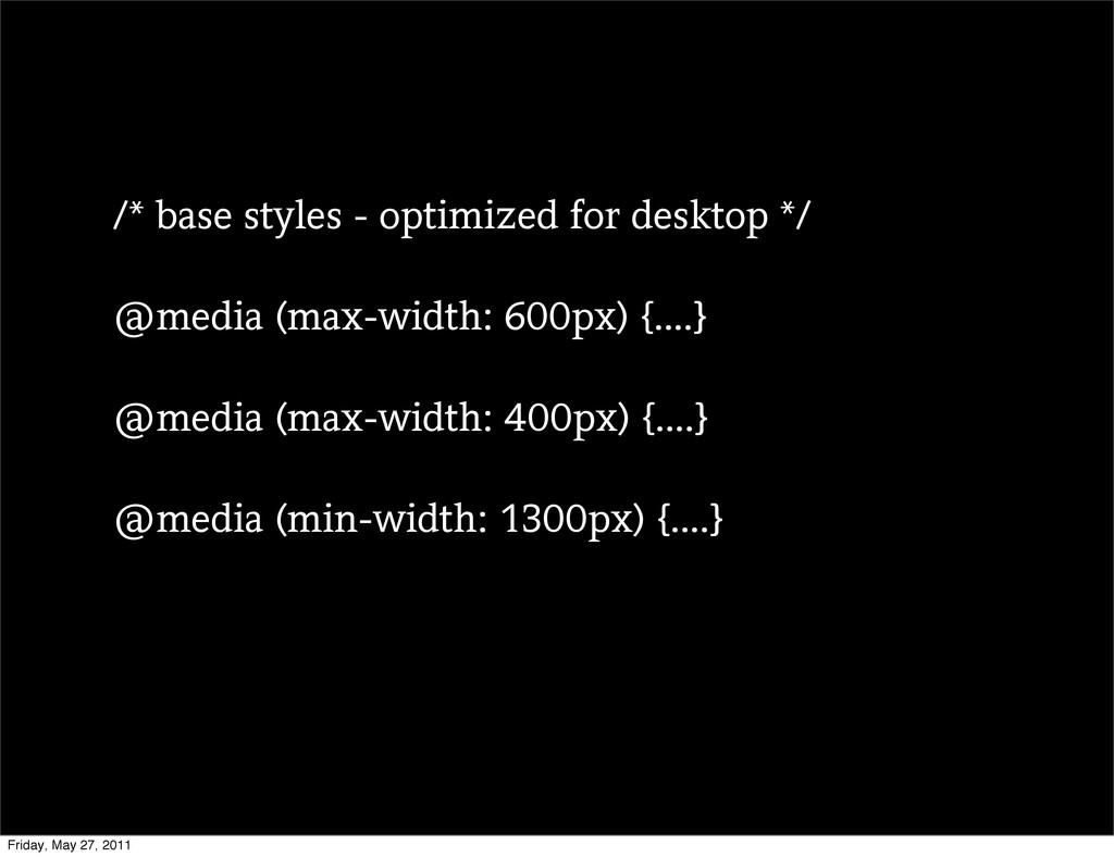 /* base styles - optimized for desktop */ @medi...