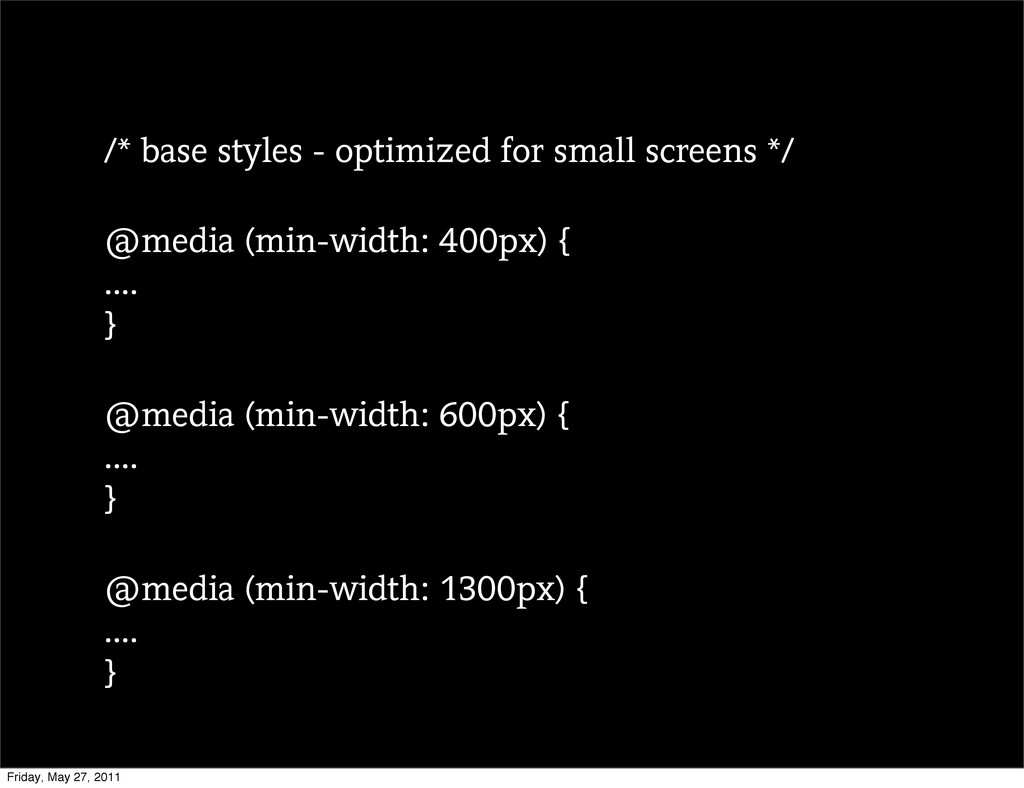 /* base styles - optimized for small screens */...