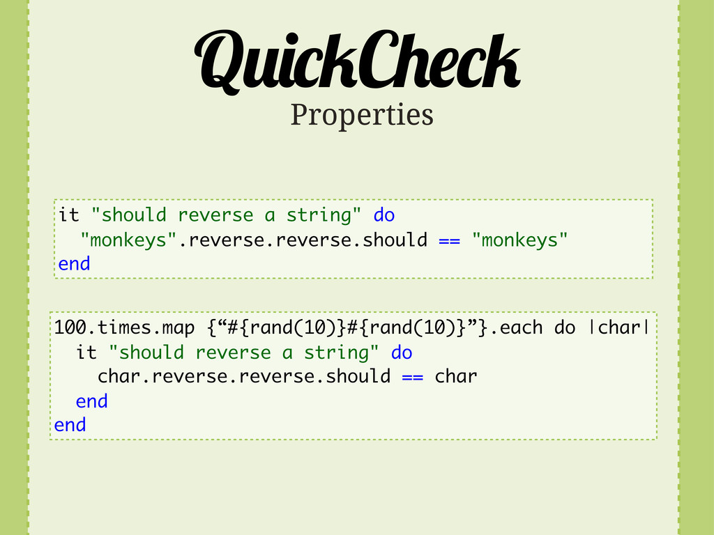 "Q C Properties it ""should reverse a string"" do ..."