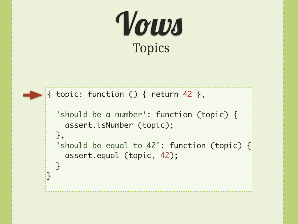 V w Topics { topic: function () { return 42 }, ...