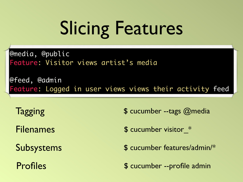 Slicing Features Tagging Filenames $ cucumber -...