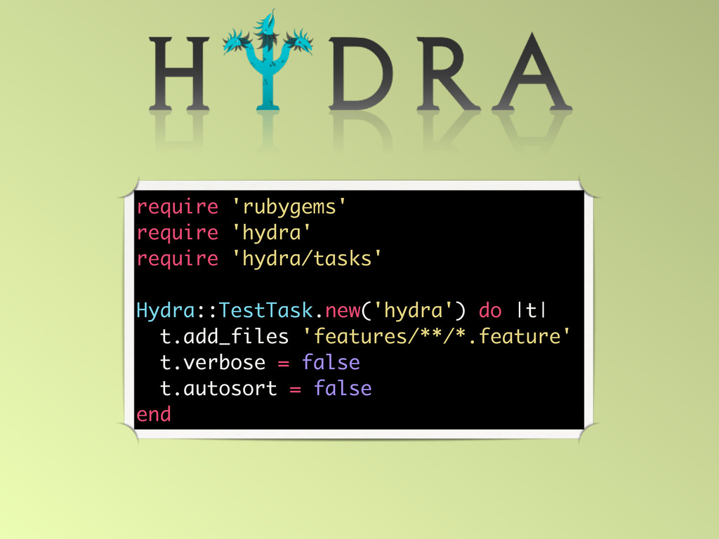 require 'rubygems' require 'hydra' require 'hyd...