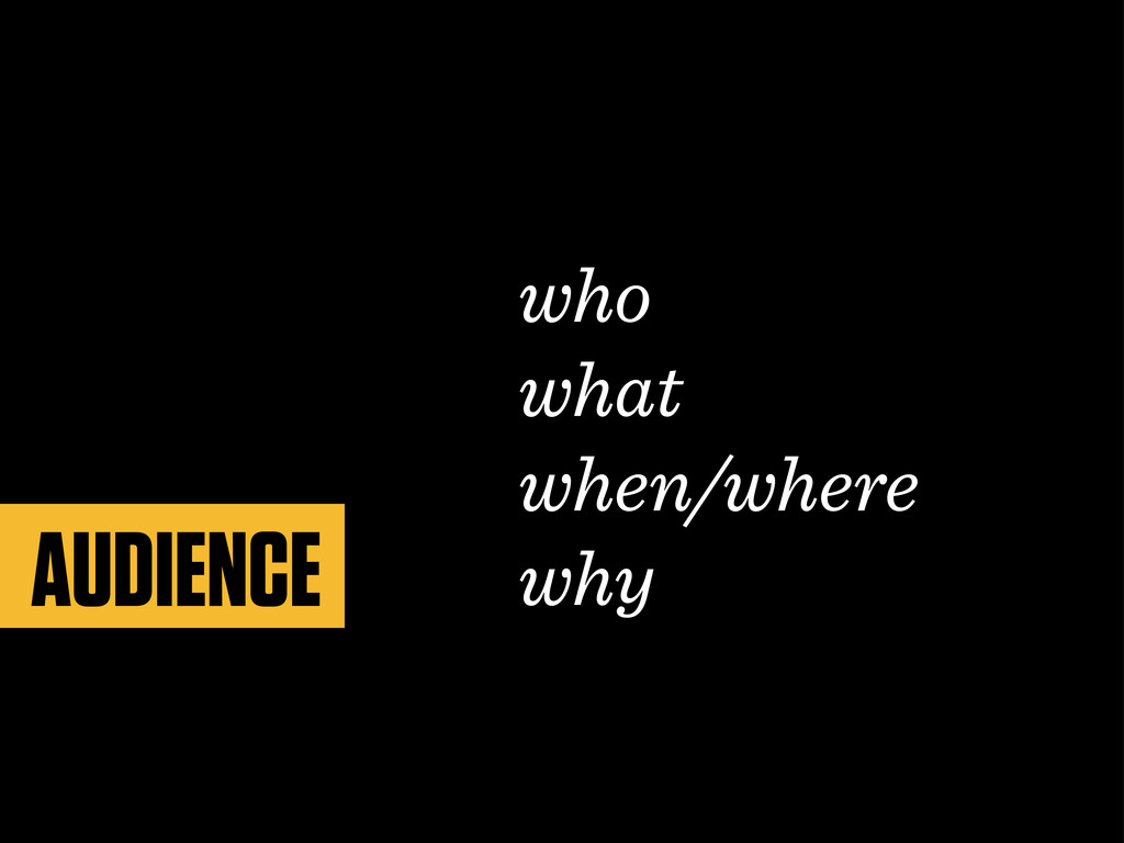 who what when/where why AUDIENCE