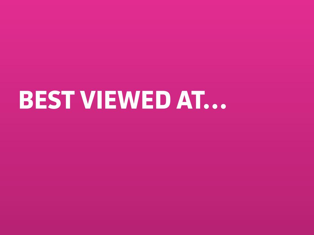 BEST VIEWED AT…