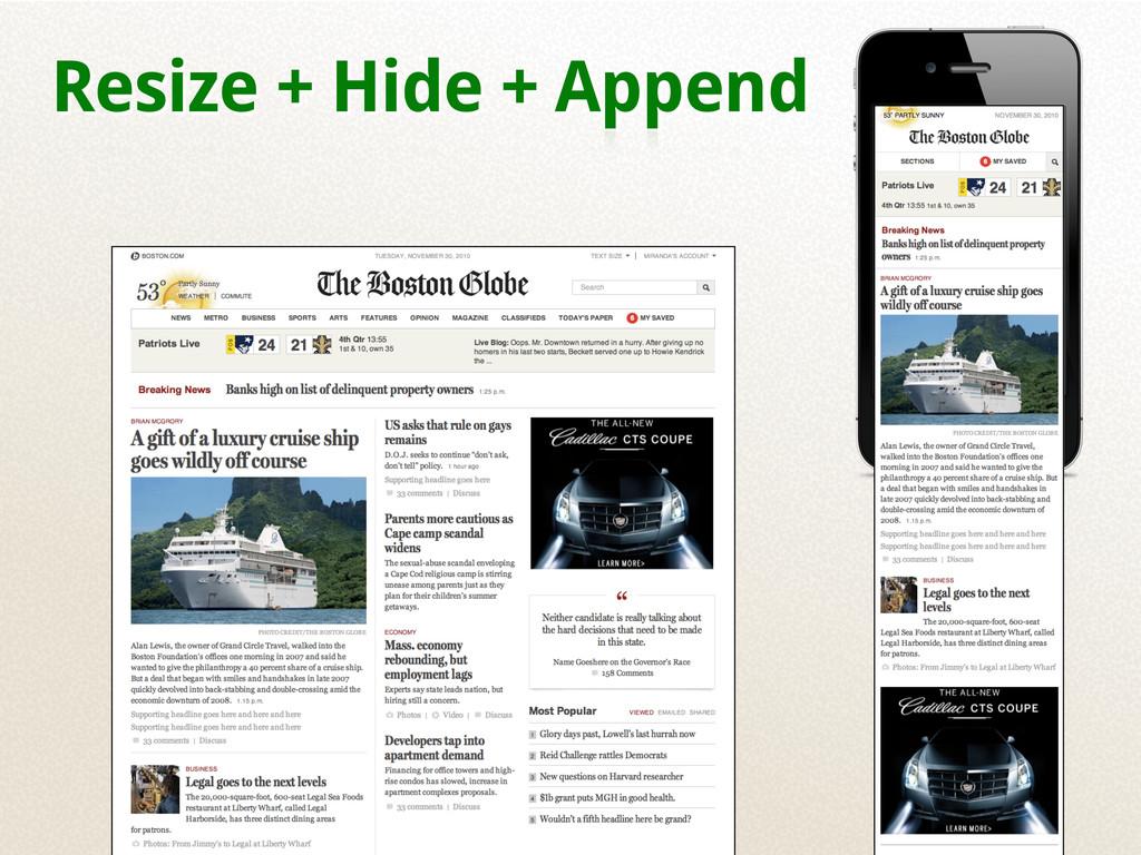 Resize + Hide + Append
