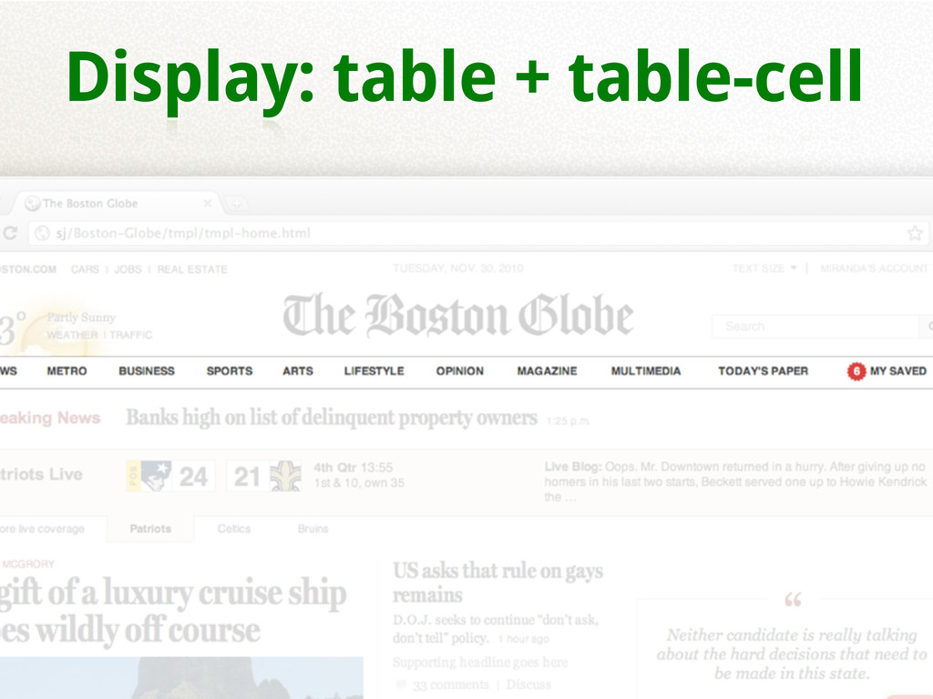 Display: table + table-cell