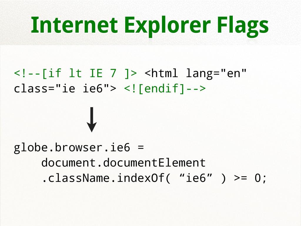 Internet Explorer Flags <!--[if lt IE 7 ]> <htm...