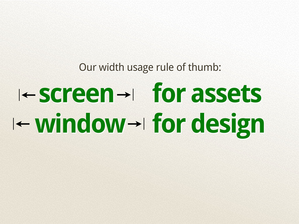 Our width usage rule of thumb: screen for asset...
