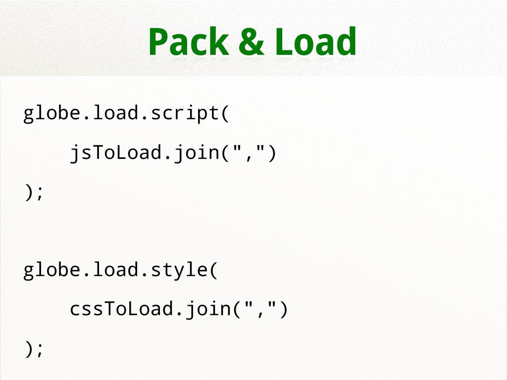 """Pack & Load globe.load.script( jsToLoad.join("""",..."""