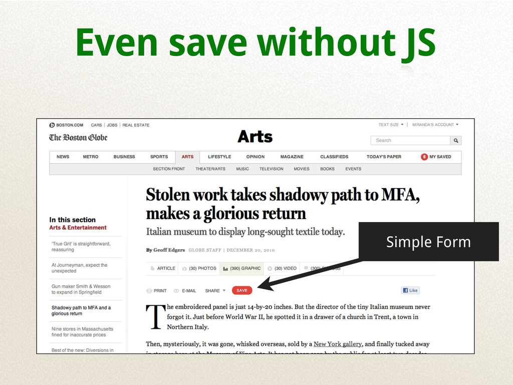 Even save without JS Simple Form