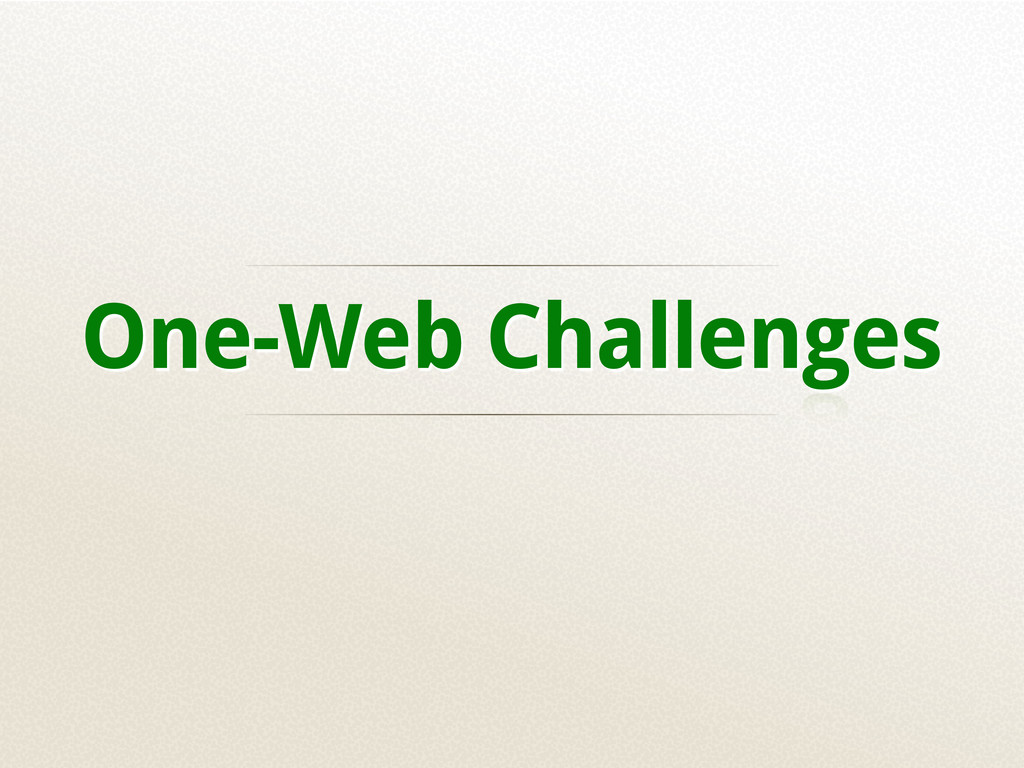 One-Web Challenges