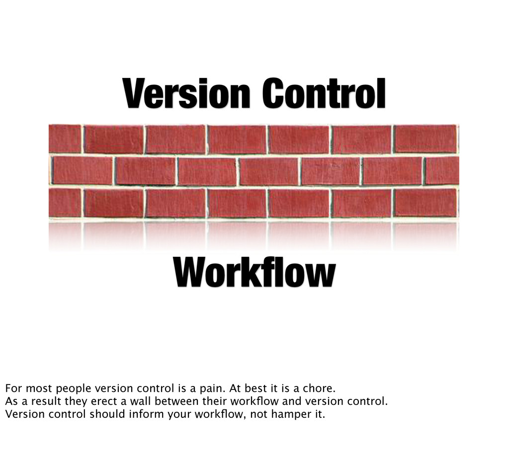 Version Control Workflow For most people version...
