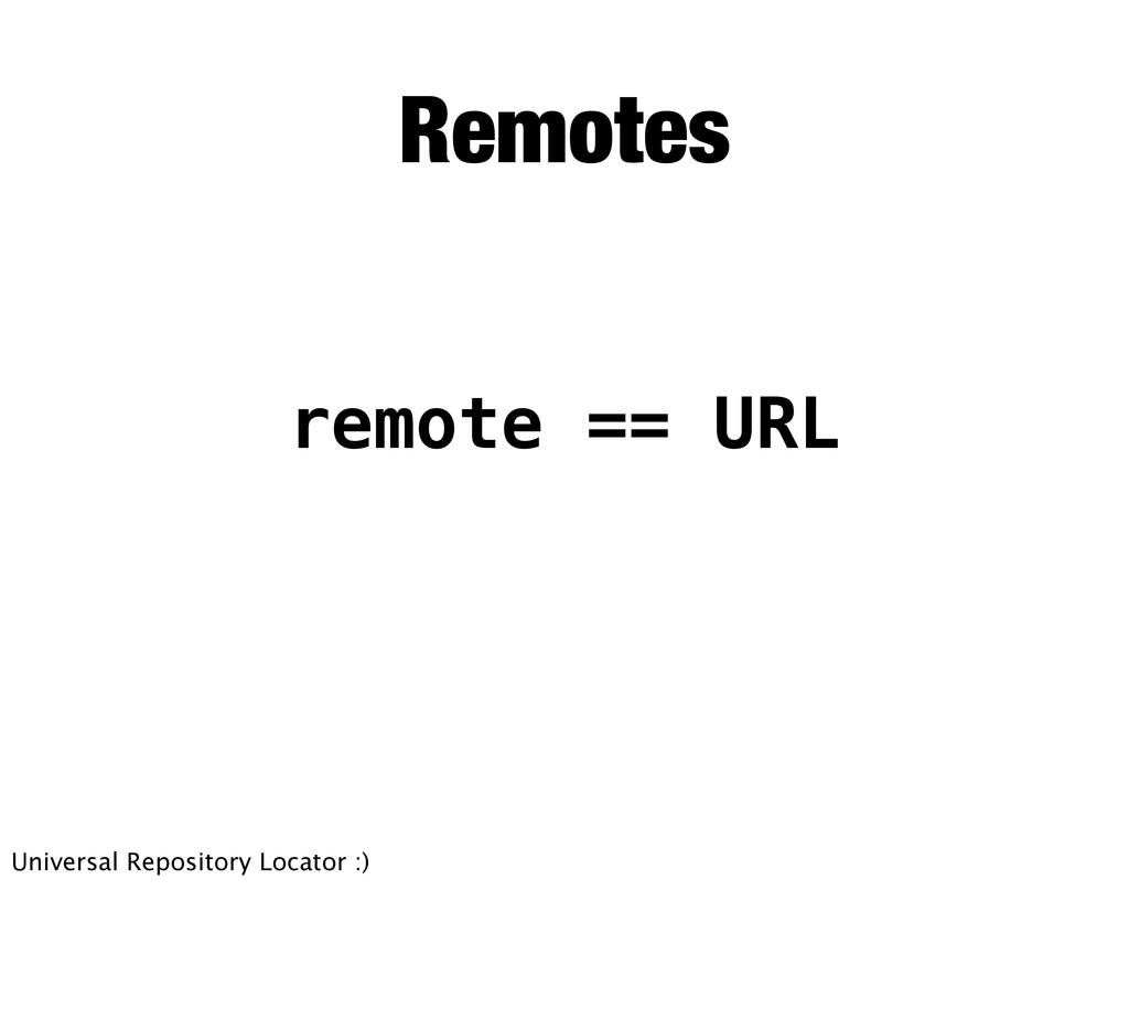 Remotes remote == URL Universal Repository Loca...