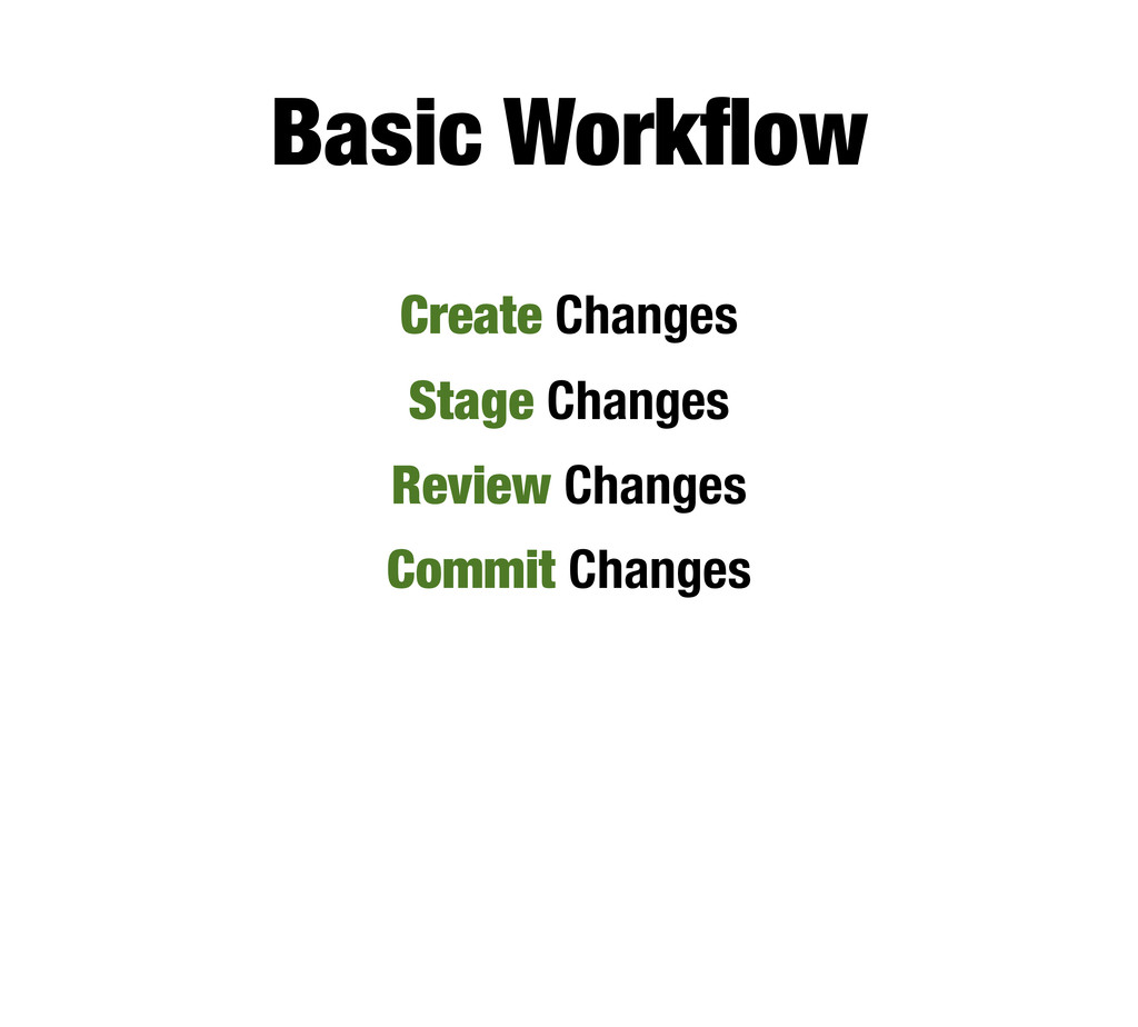 Basic Workflow Create Changes Stage Changes Revi...