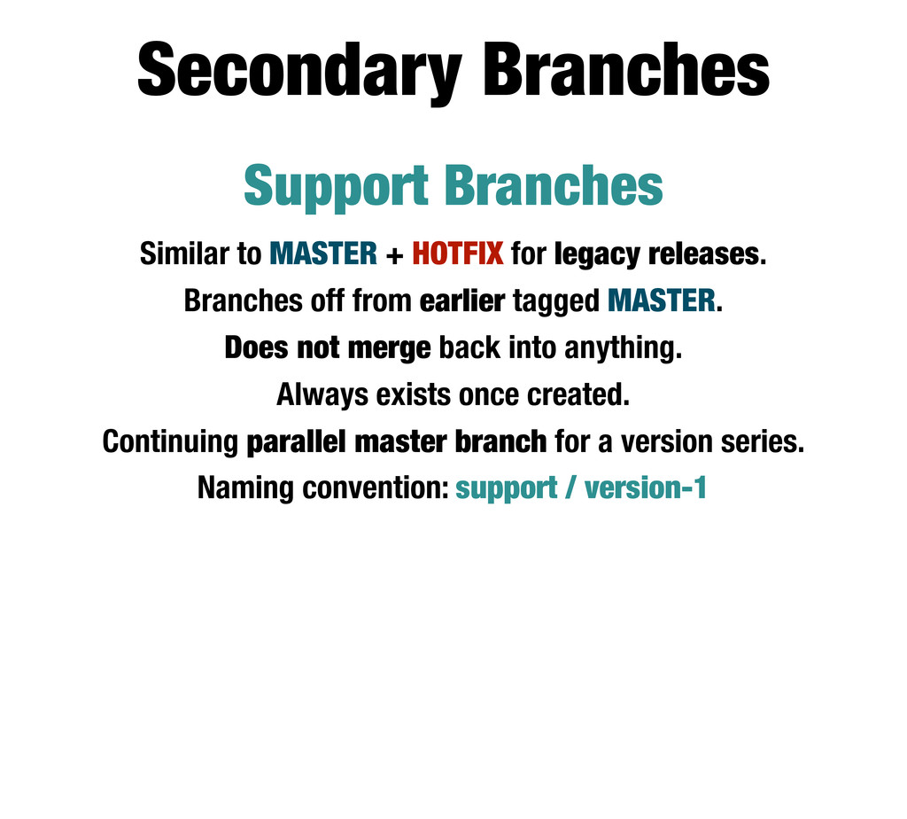 Support Branches Similar to MASTER + HOTFIX for...