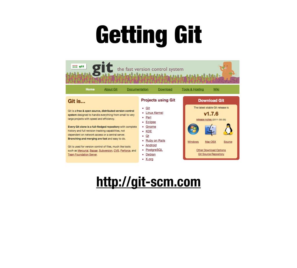 Getting Git http://git-scm.com