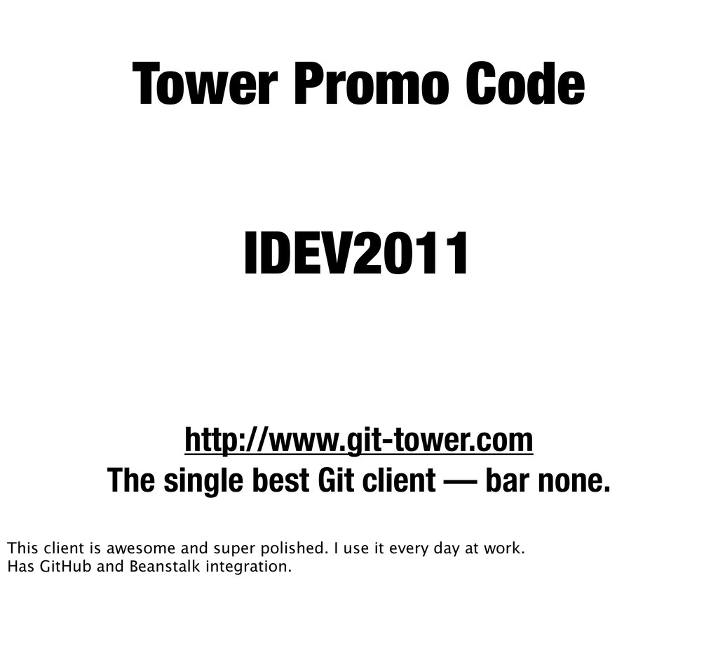 Tower Promo Code http://www.git-tower.com The s...