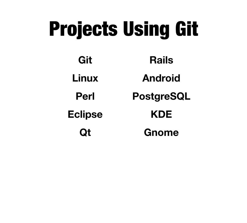 Projects Using Git Git Linux Perl Eclipse Qt Ra...