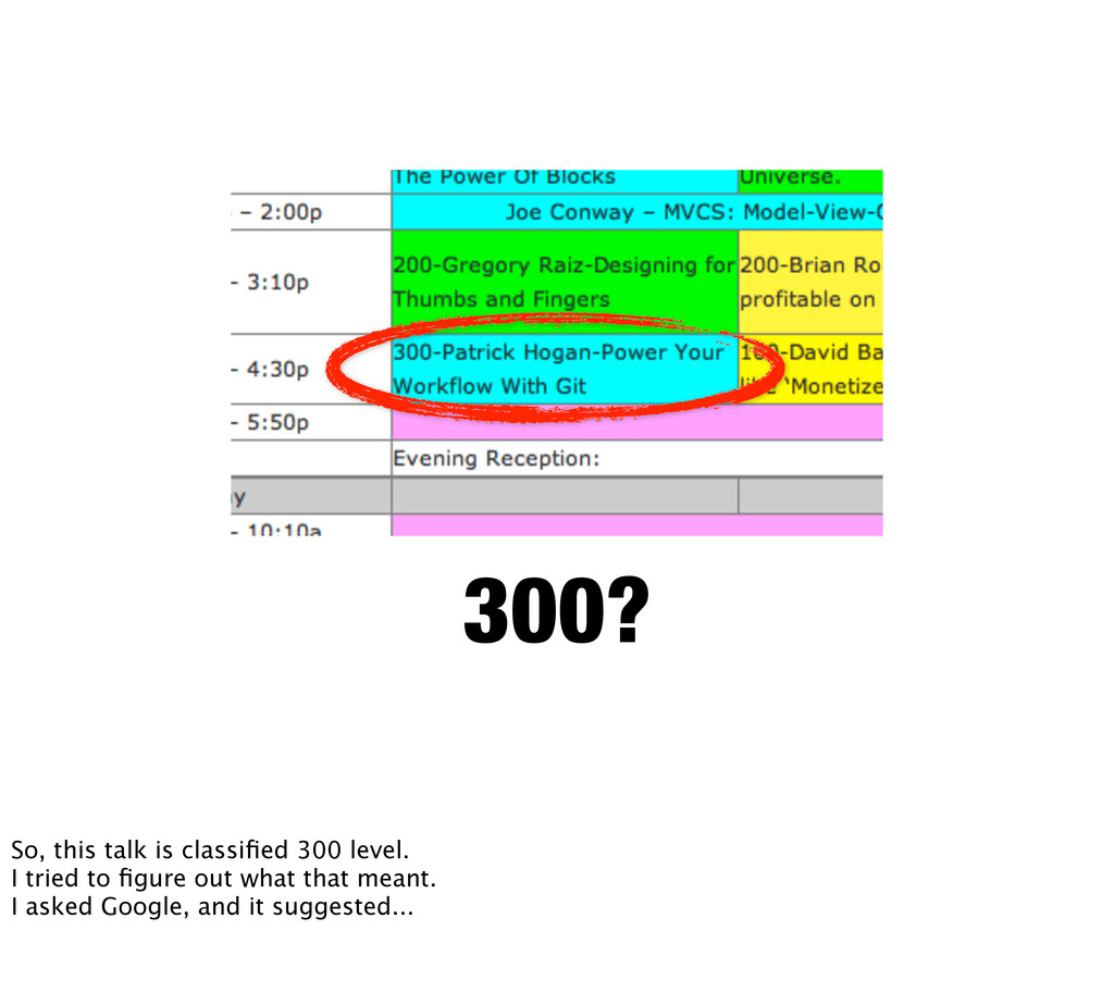 300? So, this talk is classified 300 level. I tr...