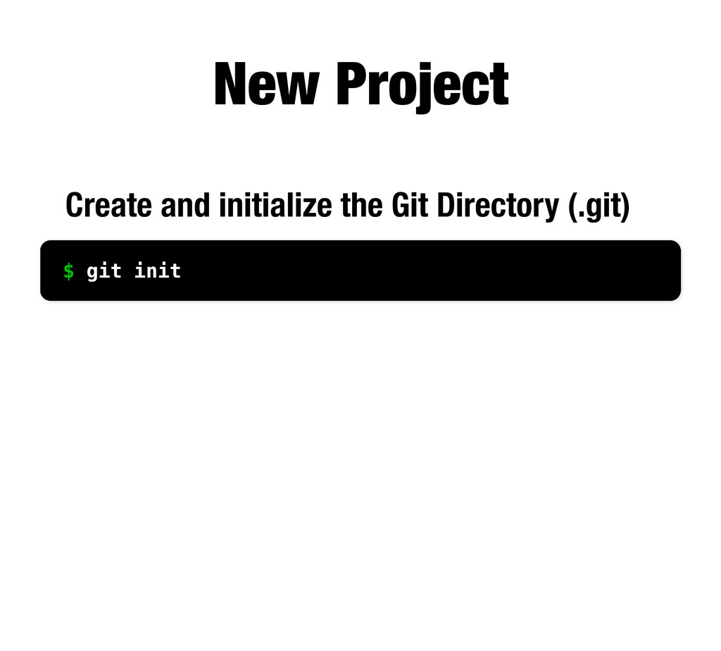 New Project Create and initialize the Git Direc...