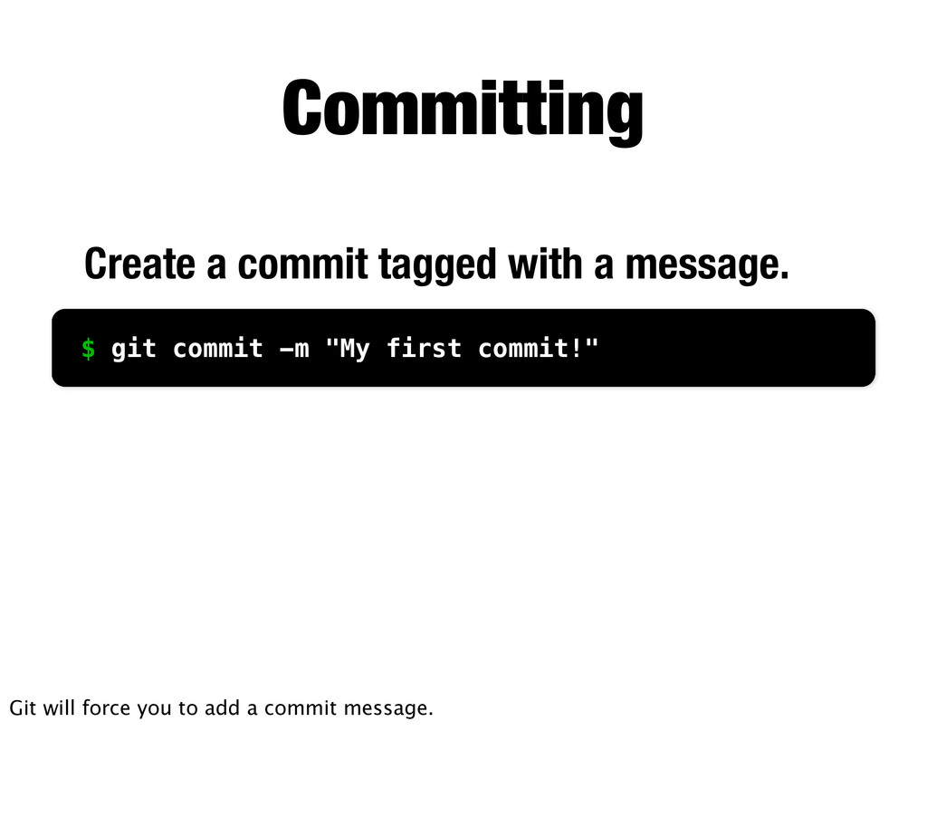 Committing Create a commit tagged with a messag...
