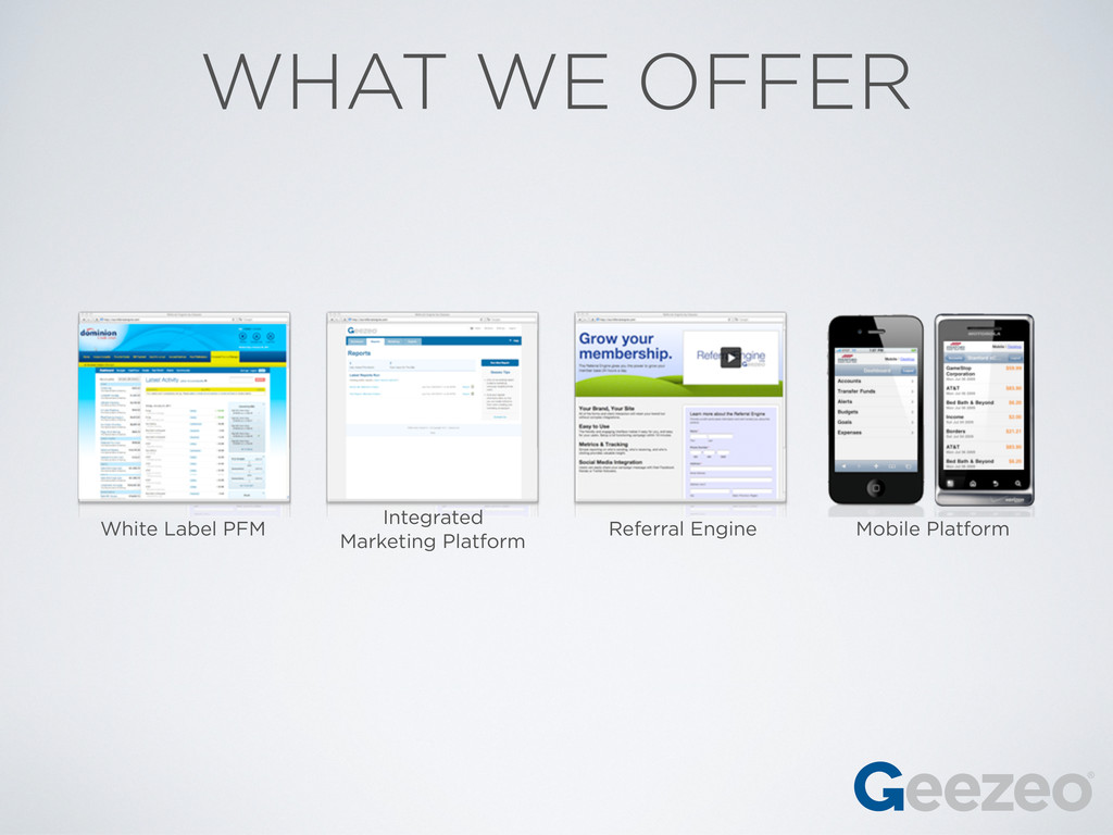 WHAT WE OFFER White Label PFM Integrated Market...