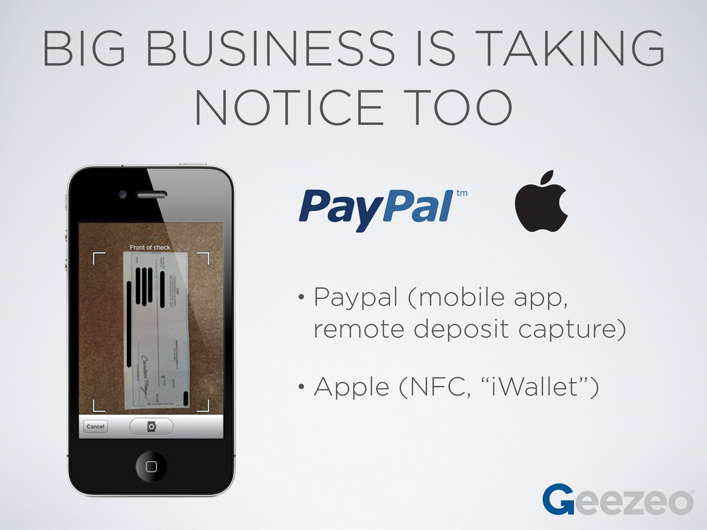 BIG BUSINESS IS TAKING NOTICE TOO • Paypal (mob...