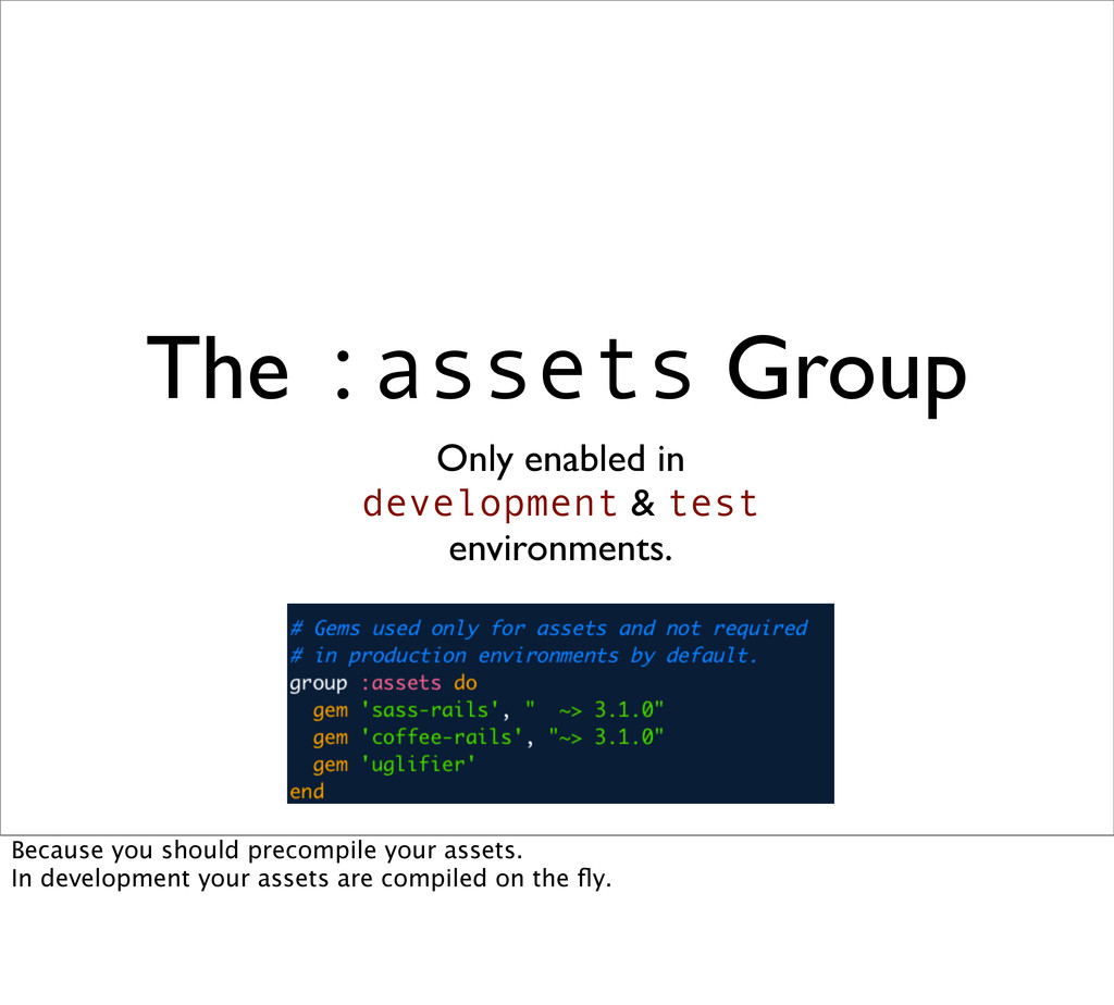 The :assets Group Only enabled in development &...
